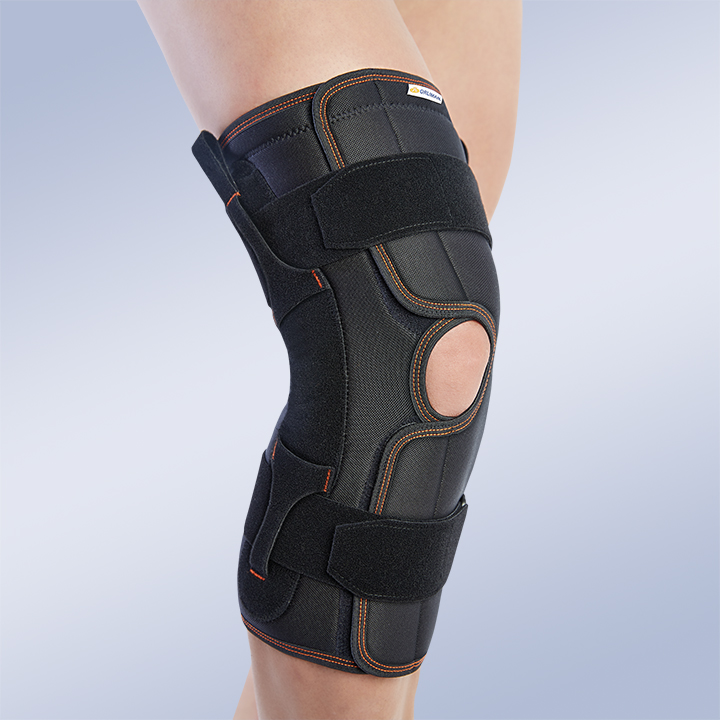 OPEN KNEE SUPPORT WITH POLYCENTRIC JOINTS