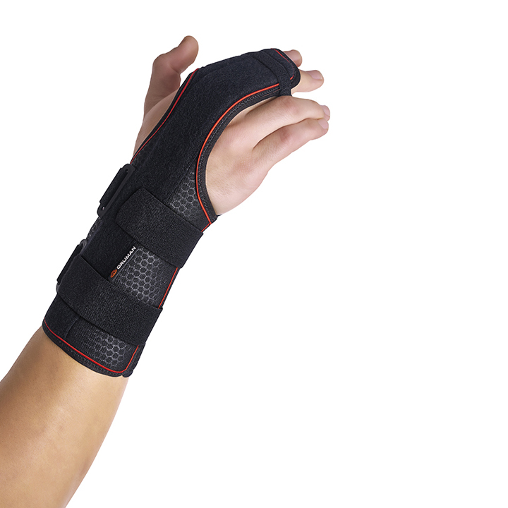 SEMI-RIGID WRIST SUPPORT WITH  PALMAR/DORSAL SPLINTS / 2ND AND 3RD METACARPALS